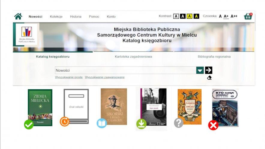 Grafika przedstawia fragment katalogu oraz miniatury okładek z graficznymi oznaczeniami dostępności zbiorów.